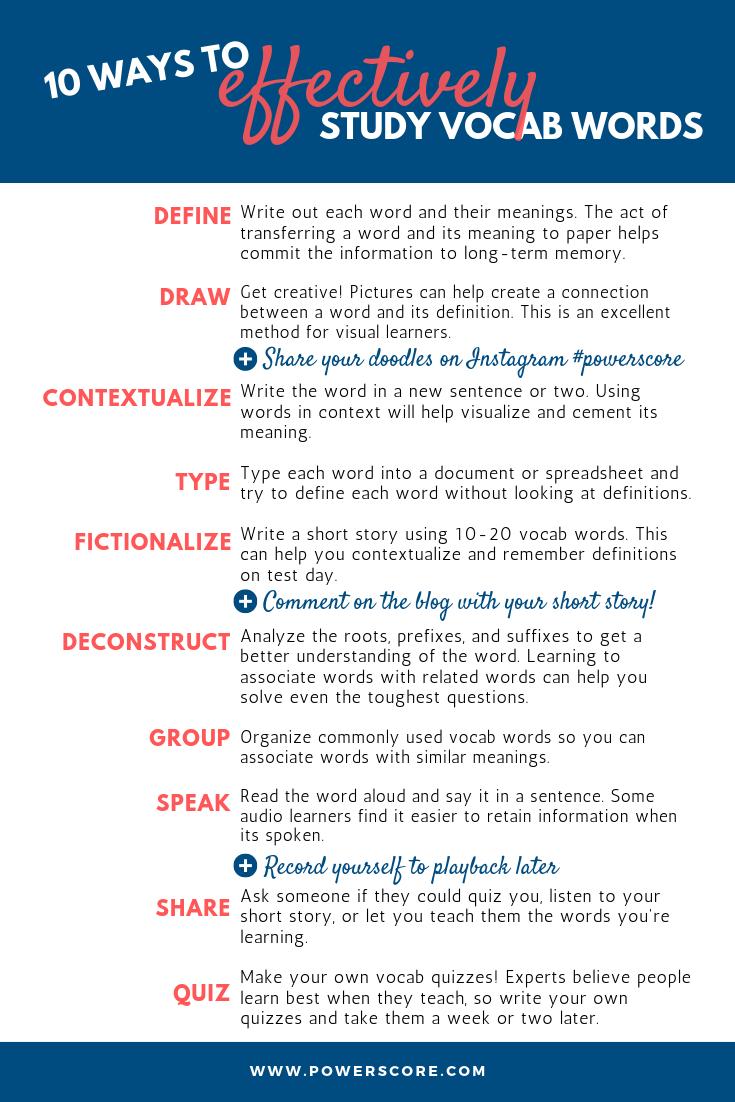 10 Ways to Effectively Study Vocab Words Breakdown